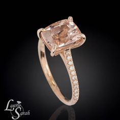 Cushion Cut Morganite Engagement Ring, Morganite Engagement Ring, Cushion Cut Morganite Ring, Diamond Engagement Ring - LS3846  $1,585.50 usd  Laurie Sarah Designs #LaurieSarah #MorganiteEngagementRing #RoseGoldEngagement #fangprongring #cushioncutmorganite #fashion #rings #jewelry #weddingset