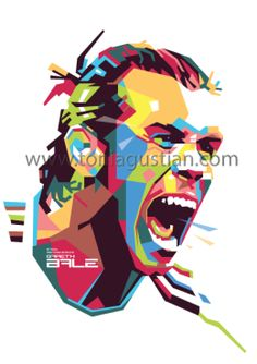 Gareth Bale in colorful pop art vector WPAP by Toni Agustian 2016