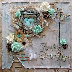 Blue Fern Studios Design Team Layout By Renea Harrison using the new Tranquility Paper Collection, Treasured Floral Frame, Shabby Brick Bits, Leafy Page Accents and Hushed Chipboard along with Blue Fern Blooms and Imagine Ink Embossing Powders.