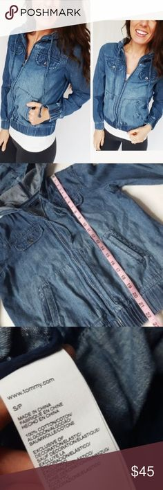 Tommy Hilfiger denim zip up bomber jacket-D5 In good condition! Tommy Hilfiger denim zip up hoodie jacket, size small. Loose fit and 100% cotton. Used item: pictures show any signs of wear. Inspected for quality. Bundle up! Offers always welcome:)  Check out my husband's closet: @kirchingeraaron Tommy Hilfiger Jackets & Coats