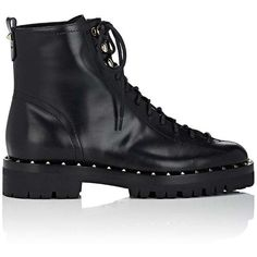 Valentino Garavani Women's Soul Rockstud Leather Combat Boots (11,675 HKD) ❤ liked on Polyvore featuring shoes, boots, ankle boots, black, black combat boots, short black boots, lace up combat boots, black boots and laced up ankle boots