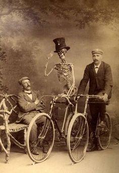 skeleton and bike