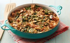 Parmesan Rice with Spinach, Mushrooms, and Turkey Sausage