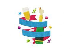 Wine Celebration New Year Banner Machine Embroidery Design