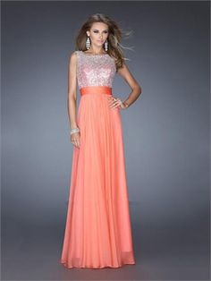 A-line Scoop Neckline Beadings Sequins Low V Back Chiffon Prom Dress PD2617 www.simpledresses.co.uk £128.0000
