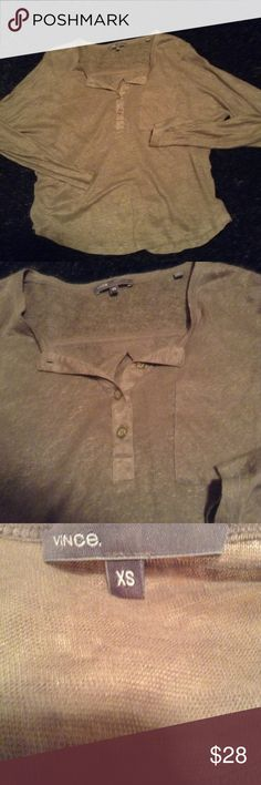 Vince Henley Tunic Dark khaki green Henley style, button at front with more fitted sleeve. Size XS Vince Tops Tunics