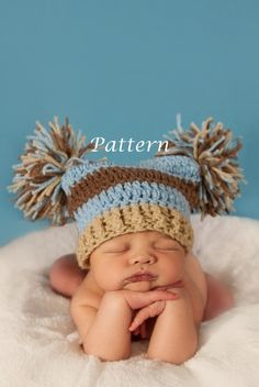 PDF Pattern Double Pom Crochet Hat - Custom Photography Prop (Sizes Newborn - Adult). $3.99, via Etsy. by TerriLeeT