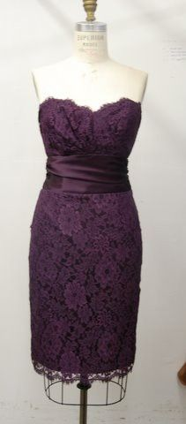 short length stripeless bridesmaid dress in purple lace