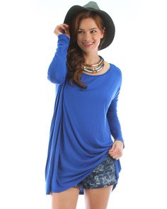 Over-Sized Long Sleeve Tunic Top In Royal