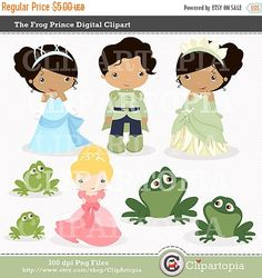 The Frog Prince Digital Clipart For Personal And Commercial Use / INSTANT…