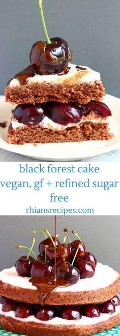 This Black Forest Cake/Black Forest Gâteau is super chocolatey, rich and creamy, and filled with sweet, juicy cherries. It's also vegan, gluten-free and refined sugar free and comes with a delicious chocolate sauce.