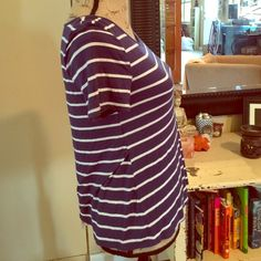 Striped cascading shirt Soft shirt with a cascade style back see photos Zenana Outfitters Tops Tees - Short Sleeve