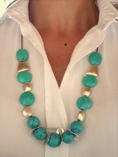 COISAS DE MARIA: Colar turquesa com pedras vindas de Israel by Anit... Dress Codes, Turquoise Necklace, Drop Earrings, Anita, Jewelry, Israel, Fashion, Stones, Diy Kid Jewelry