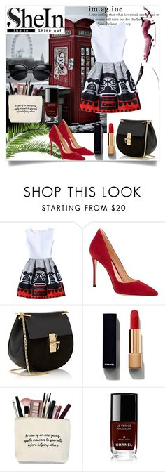 """""""shein"""" by dina-97 ❤ liked on Polyvore featuring WithChic, Gianvito Rossi, Chloé and Chanel"""