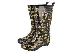 0815a9889 Botas de agua de niña divertidas con estampado de emoticonos. ¡Las únicas  con la licencia oficial Emoji!