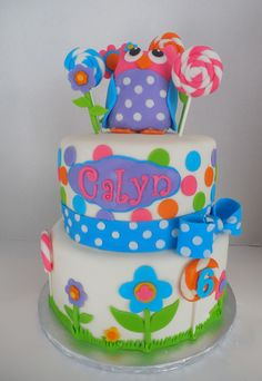 Owl's Lollipop Garden - A cake designed for a 6 year old girl who loves owls, lollipops, and polka dots.