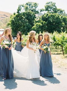 This Is What Happens When College Cuties Get Married Bridesmaid Dresses steel blue bridesmaid dresses Steel Blue Bridesmaid Dresses, Grey Bridesmaids, Wedding Bridesmaid Dresses, Burgundy Bridesmaid, Wedding Goals, Dream Wedding, Summer Wedding, Garden Wedding, Steel Blue Weddings