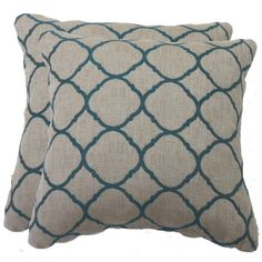 allen + roth Set Of 2 Accord Lagoon UV-Protected Square Outdoor Decorative Throw Pillow