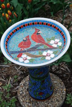 Mosaic Bird Bath  Cardinal Mate Watch