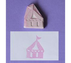 Hand Carved Rubber Stamp - Circus / Carnival -  Tent (Handmade / Hand Carved / Handcarved Rubber Stamp). $5.75, via Etsy.