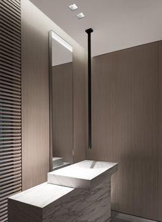 Description: rustic bathroom décor combines wood, stone, and metal to spice up modern interiors. Rustic design will not Minimal Bathroom, Modern Bathroom Design, Bathroom Interior Design, Bathroom Styling, Bath Design, Bathroom Lighting, Contemporary Bathrooms, Bad Inspiration, Bathroom Inspiration