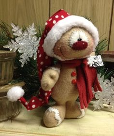 "Primitive HC Holiday Christmas Doll Gingerbread Man Snowman 7.5"" Super Cute!"