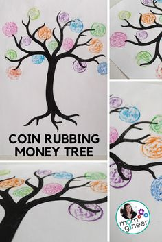 Print a tree, place coins under the paper, and rub with crayons. Fun Math Activities, Drawing Activities, Projects For Kids, Crafts For Kids, Toddler Crafts, School Projects, School Ideas, Drawing For Kids, Art For Kids