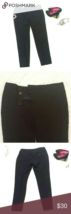 Black, Ankle Pant -NWOT- Black, Ankle Pant for the Office with 2 Buttoned Pockets on the Back. There are also 2 Attractive Small Slits at the Bottoms of the Legs (on the Sides). 75%Polyester 20%Rayon 5%Elastic. Foolishly Removed Tags but they've Never been Worn! Separate Ways Pants Ankle & Cropped