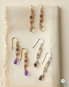 """Mashka Stone Drop Earrings $60.00. www.Garnethill.com You can make a """"copycat"""" of these earrings for pennies go to beading gems journal to find free patterns and instructions"""