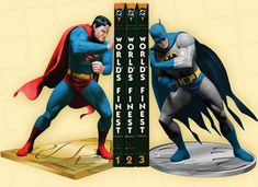 Batman vs. Superman Bookends The world's two greatest heroes, the Man of Steel and the Dark Knight will display their heroic strengths on your shelf. [link]