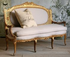 #Vintage Stunning Rococo Louis XV Gold Gilt #Settee $2,415.00 #thebellacottage