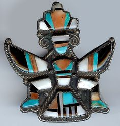 VINTAGE ZUNI INDIAN STERLING INLAID TURQUOISE ONYX SHELL CORAL KNIFEWING MAN PIN