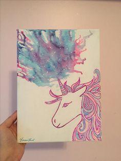 Unicorn melted crayon art