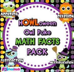Poke games are a creative, simple, self-checking way for students to practice their math facts. And the cute Halloween owl design is perfect...$