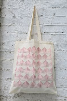 Tote bag: 'Fan' design hand printed on cotton tote by Patternalism