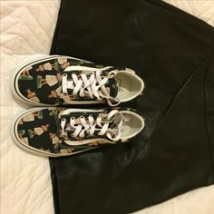 Hula vans and leather mini #vans #skate #leather #punk