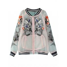 Choies White Koi Fish Embroidery Sheer Gauze Bomber Jacket (611.480 IDR) ❤ liked on Polyvore featuring outerwear, jackets, tops, bomber jacket, white, embroidery jackets, flight jacket, white flight jacket, embroidered jacket and bomber style jacket