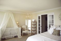 cute crib area in master bedroom