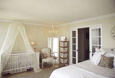 cute crib area in master bedroom