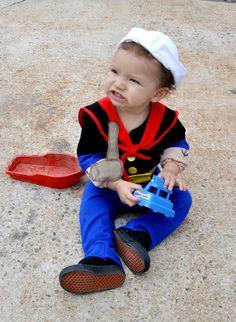 Boys babies costume Popeye the sailor man inspired kids toddler children infant Halloween costumes. $125.00, via Etsy.