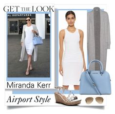 """Miranda Kerr"" by bonnie-wright-1 ❤ liked on Polyvore featuring James Perse, Two Lips, Michael Kors and Ray-Ban"