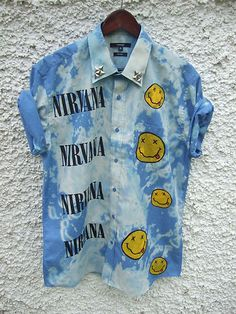 Dip Tie Dye Ombre Shirt Dress Grunge 90s Nirvana Nevermind Studs  i would like it without the nirvana maybe just a plain jean would be cuter :)