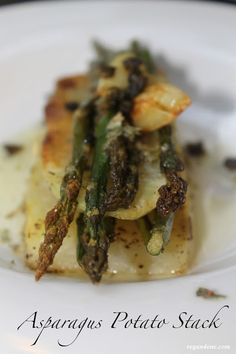 Vegan Asparagus Potato Stack with fried capers, caramelized garlic and a lemon tarragon sauce. Super easy. Super delish.