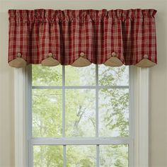 Barnside Scalloped Valance Curtains by Park Designs feature wine & bisque plaid with contrasting buttons & layer. Measures x Lined. Country Style Curtains, Country Style Homes, Country Decor, Farmhouse Style, Farmhouse Decor, Kitchen Curtains And Valances, Lined Curtains, Valance Curtains, Primitive Kitchen