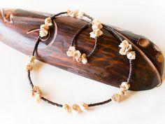Beige schelp ketting bruin houten ketting beaded, bruine shell stukken ketting schelp ketting, seashell Oceaan ketting, beige ketting