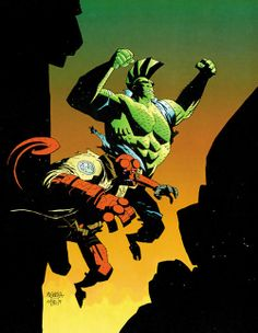 Savage dragon and hellboy by Mike mignola
