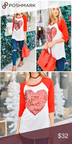 ❤️ Sequin Heart Top! Available 1/15 for shipment!  Fun sequin heart top, perfect for Valentine's Day!  rayon/spandex blend Tops