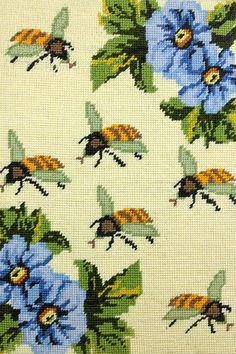 Needlepoint bees from the Vintage Home blogspot.