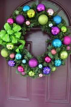 Fun Colorful Christmas Wreath with blue, green, purple and pink shatter proof bulbs