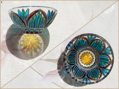 RichanaDragon ||| Lotus. Salad bowl (candle holder) made from thick glass with deep relief on outer side. (1) Color solution gives effect of stylized image of a lotus. Hand painted stained glass. ||| Dispatched 14 March 2016